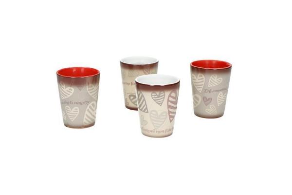 Art. 54976 Set 4 bicchierini Magic Batticuore Brandani