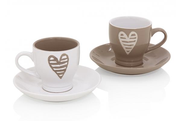 Art. 55676 Set 2 tazze da caffè Batticuore Brandani