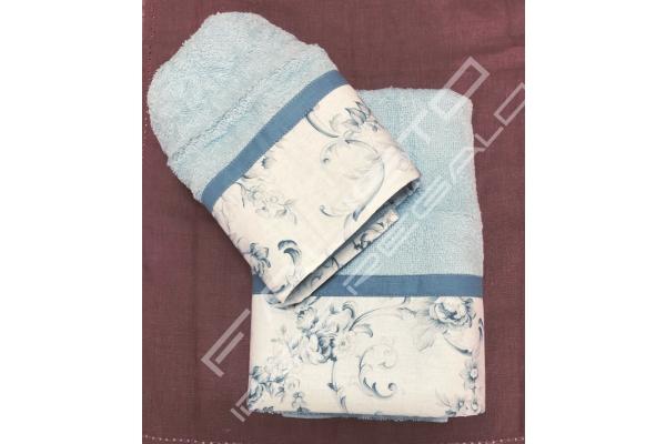 Coppia di asciugamani Shabby Chic *Alice* azzurro
