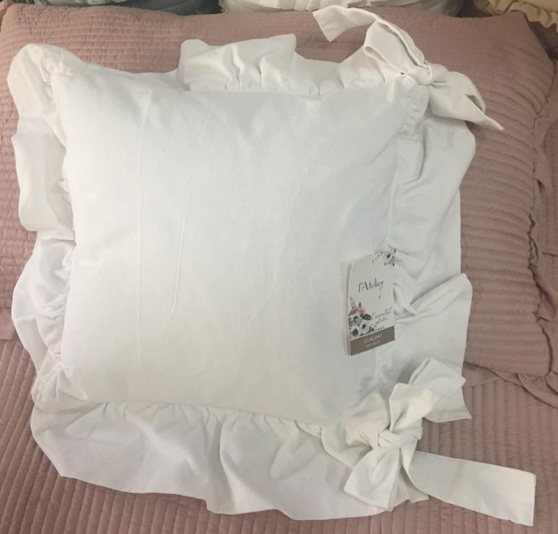 """Cuscino da sedia """"Essentiel"""" con rouche 40x40cm bianco"""