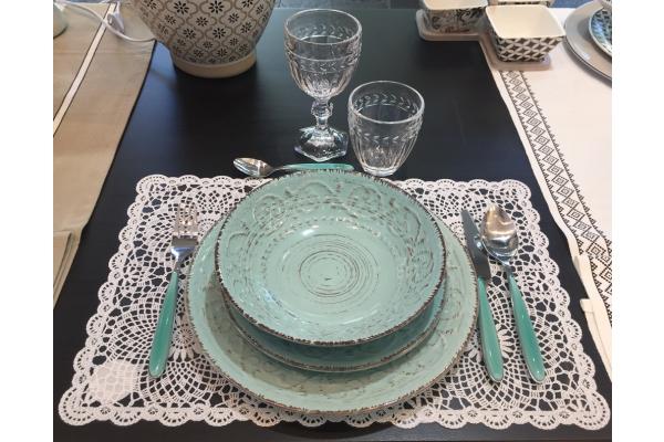Servizio di piatti per 6 persone Serendipity turchese Brandani