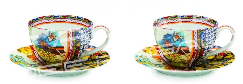 "Set 2 tazze da caffè in porcellana Collezione ""Santa Rosalia"""