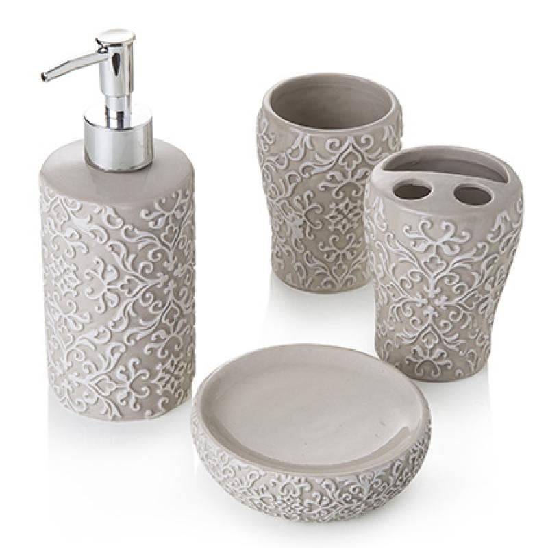 Set da bagno 4 pezzi in ceramica decorata Montemaggi
