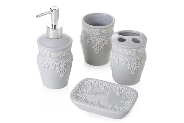 Set da bagno *Classic Grey* in ceramica (4 pezzi)