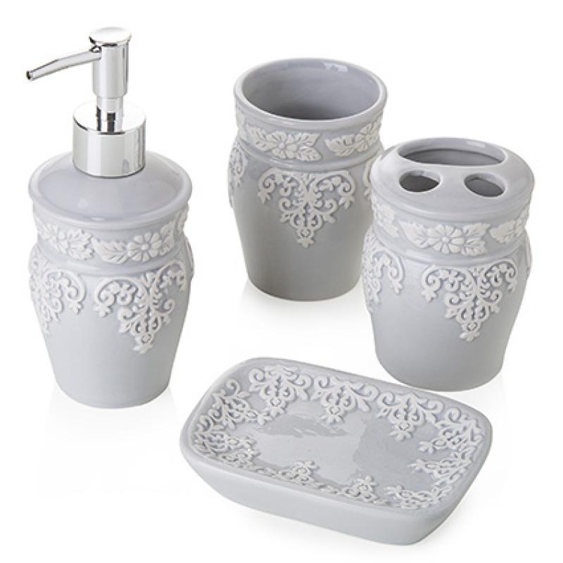 Portasapone Bagno In Ceramica.Set Da Bagno Classic Grey In Ceramica 4 Pezzi