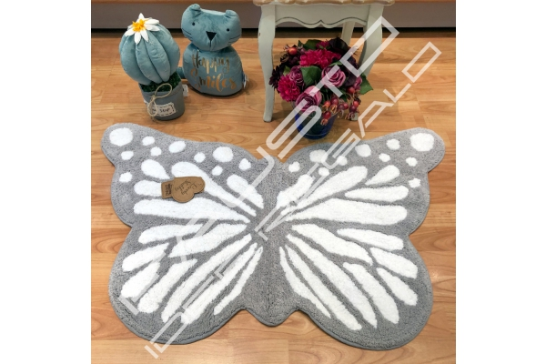Tappeto Butterfly 60x100cm shabby chic grigio e bianco