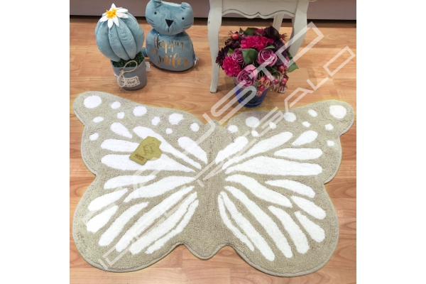 Tappeto Butterfly 60x100cm shabby chic sabbia e bianco