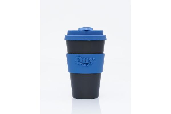 Tazza biodegradabile con coperchio in silicone *Black/Blue*