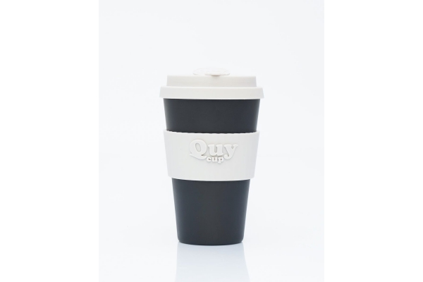 Tazza biodegradabile con coperchio in silicone *Black/Grey*