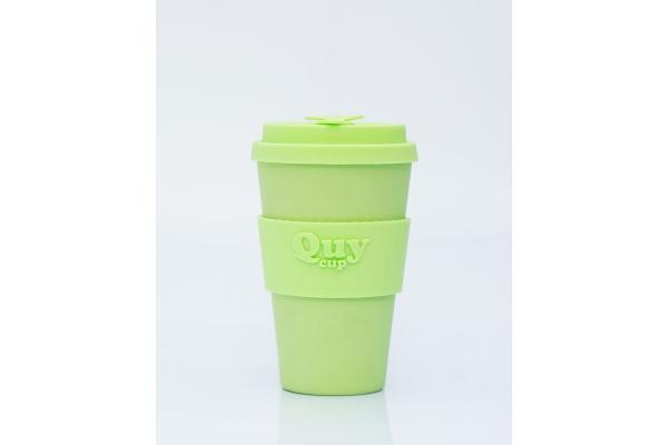 Tazza biodegradabile con coperchio in silicone *Green*