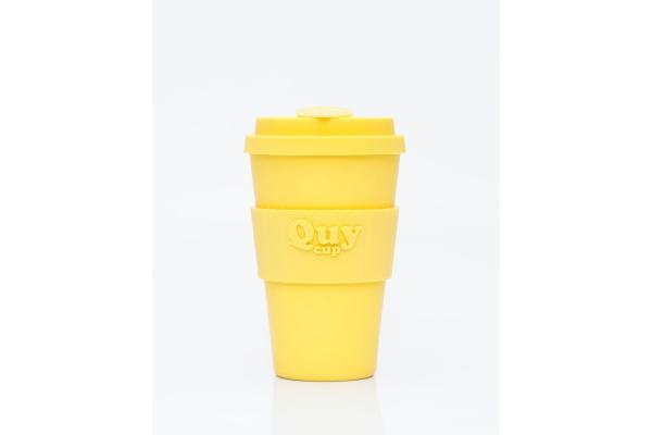 Tazza biodegradabile con coperchio in silicone *Yellow*