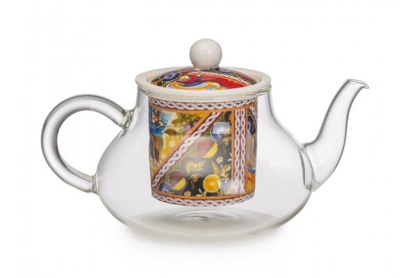 """Teiera in vetro e in porcellana Collezione """"Santa Rosalia"""""""