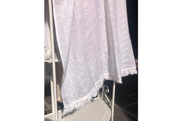 Telo mare pareo bianco *Madeleine* 100% cotone con balza shabby chic Atelier 17