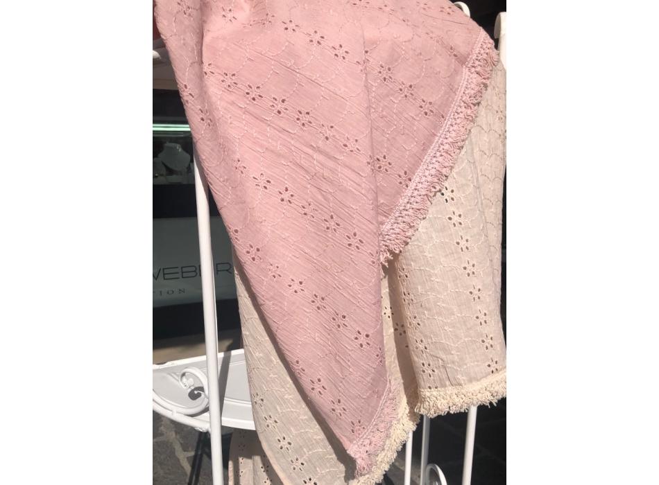 Telo mare pareo rosa *Madeleine* 100% cotone con balza shabby chic Atelier 17