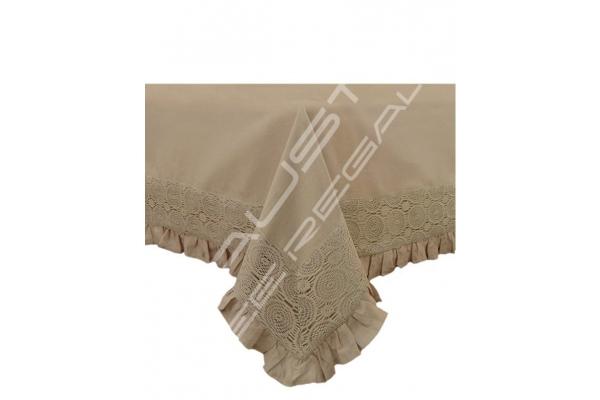 """Tovaglia rettangolare Shabby Chic collezione """"MADAME"""" tortora 150x220cm"""