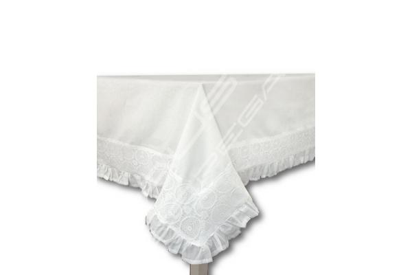 """Tovaglia rettangolare Shabby Chic collezione """"MADAME"""" bianca 150x220cm"""