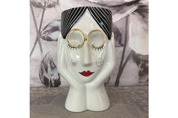 """Vaso """"Beatrice"""" testa di donna con occhiali dorati Montemaggi"""