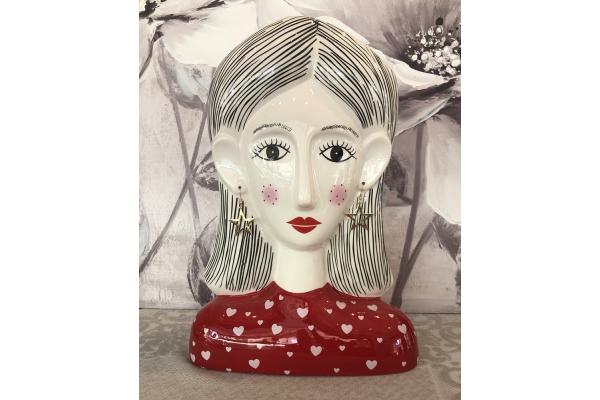 """Vaso grande """"Alessia"""" testa di donna con orecchini pendenti dorati Montemaggi"""