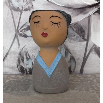 "Vaso in cemento ""Yukiko"" testa sognatrice kimono Montemaggi"