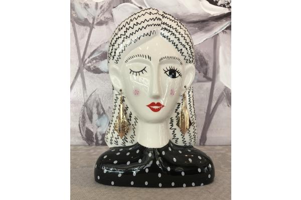 """Vaso medio """"Alessia"""" testa di donna con orecchini pendenti dorati Montemaggi"""