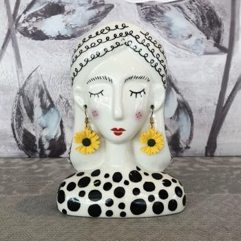 """Vaso piccolo in porcellana """"Alessia"""" con orecchini pendenti dorati Montemaggi"""