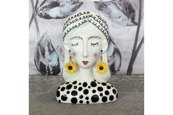 """Vaso piccolo """"Alessia"""" testa di donna con orecchini pendenti dorati Montemaggi"""