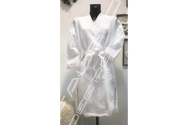 Vestaglia/Accappatoio a nido d'ape kimono bianco M